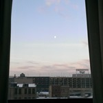 Looking out my window... a bright moon crossing over Target Field, Downtown Minneapolis